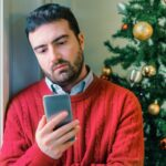 Man felling negative emotions during christmas